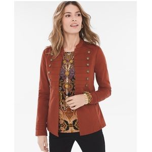 Chico's Sateen Copper Pearl Military Jacket